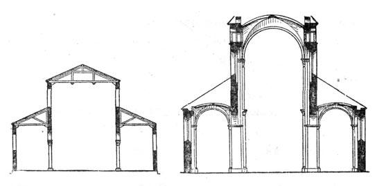 (слева) и романского храма