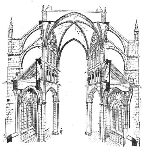 разрез готического собора.