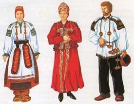 мужской и женский русский народный костюм картинки