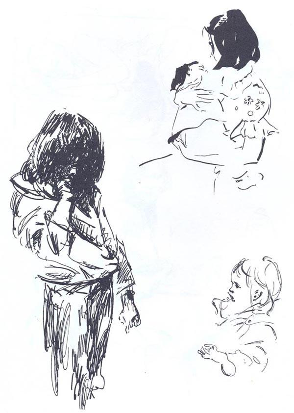 Наброски и зарисовки интерьера и... Наброски и зарисовки головы человека.